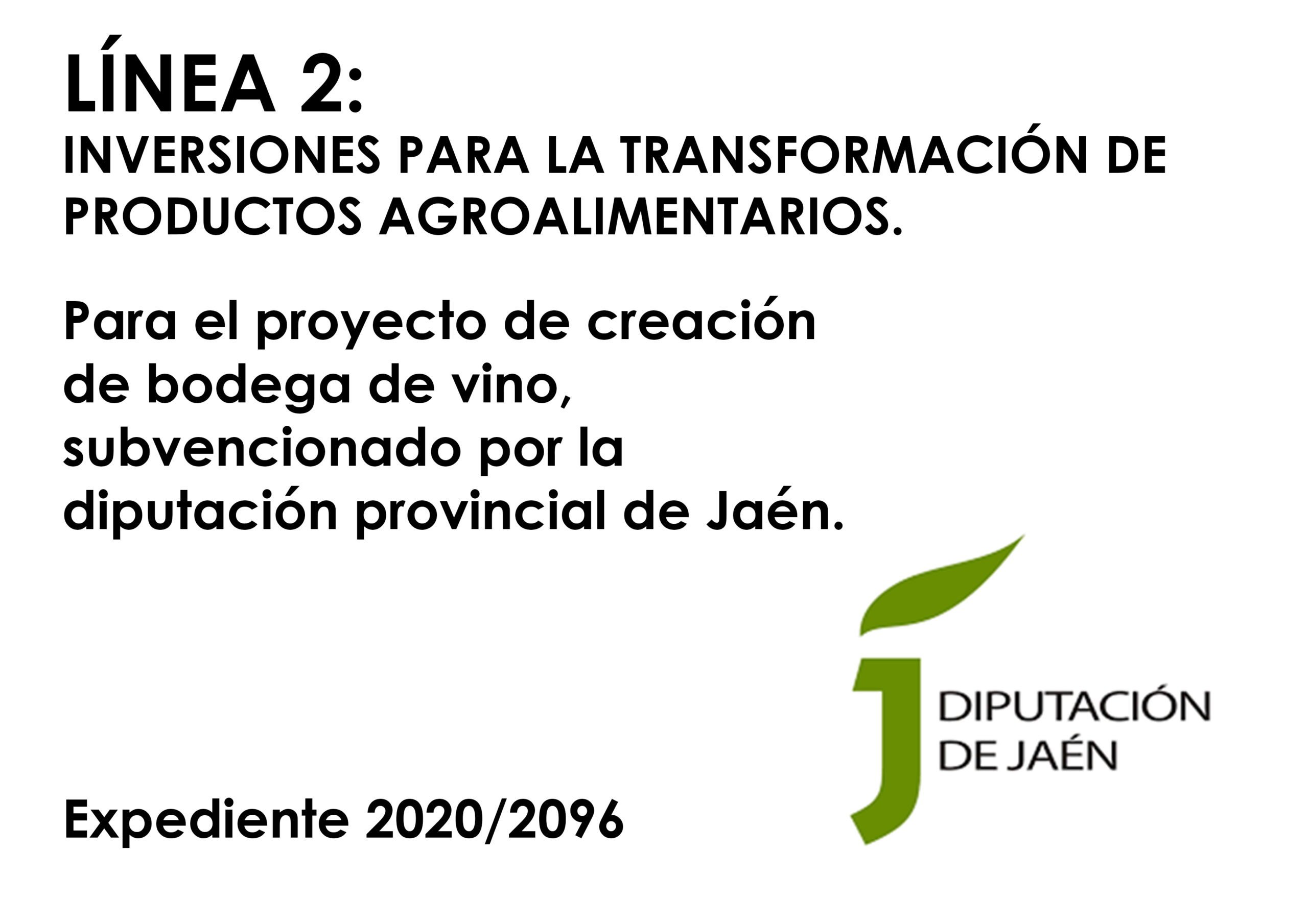 Diputación de Jaén nos concede una subvención para la creación de bodega de vino